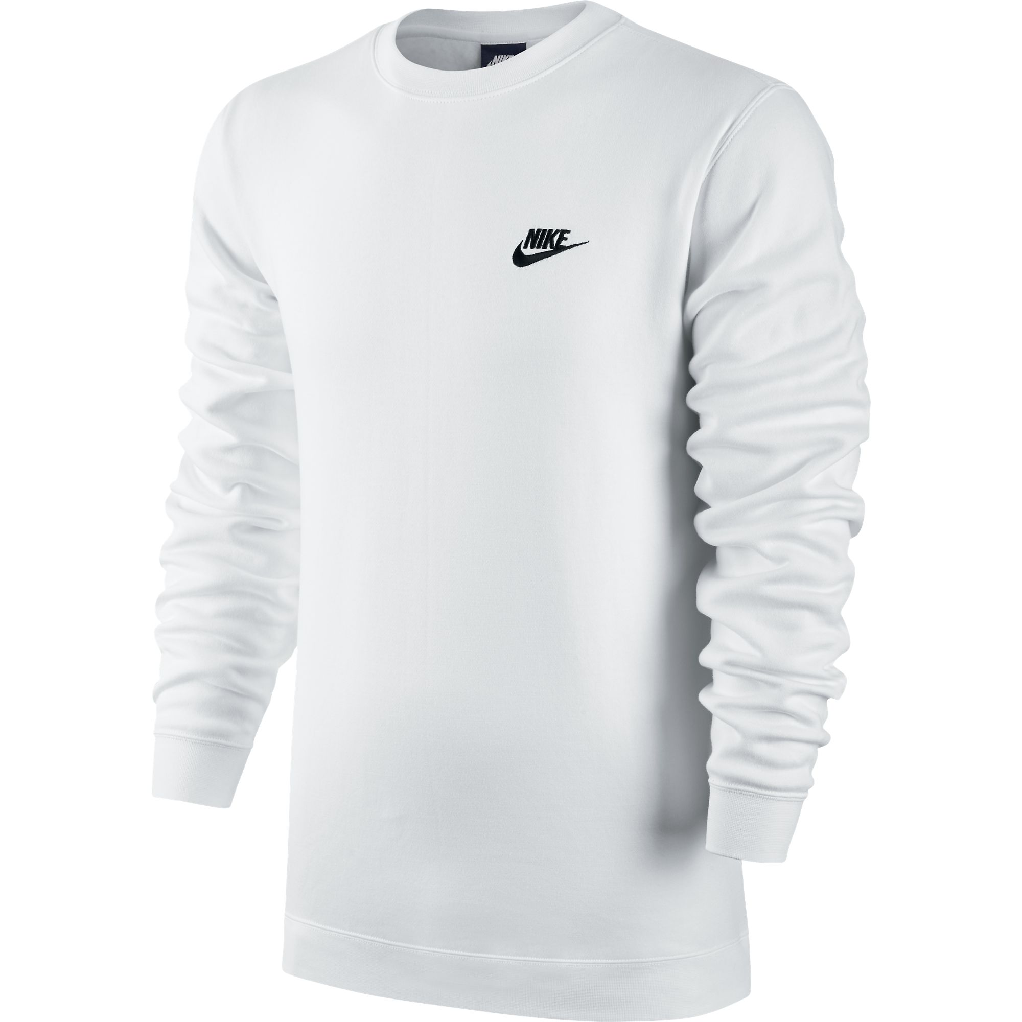 nike club fleece crew neck men 39 s t shirt white black 804340 100 ebay. Black Bedroom Furniture Sets. Home Design Ideas
