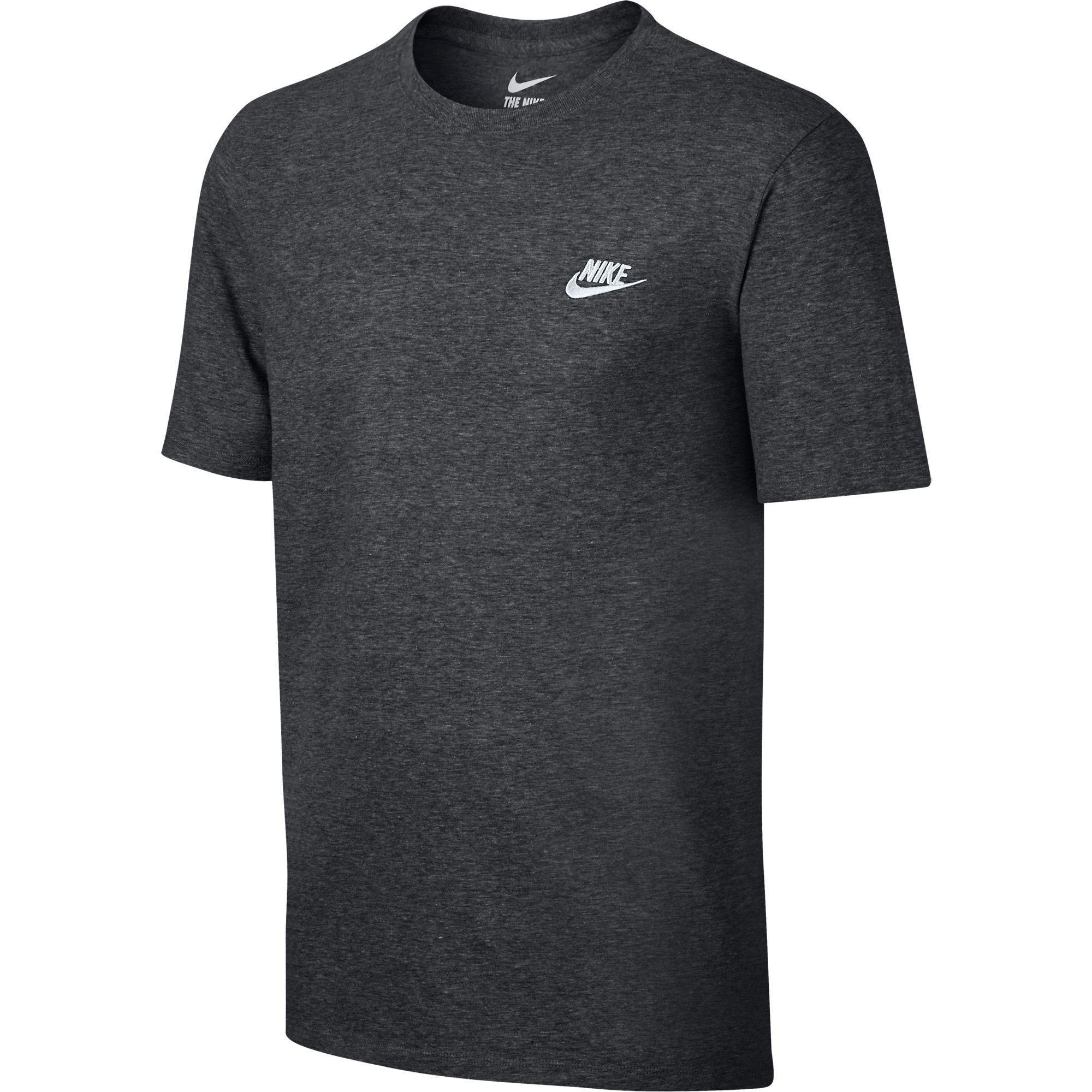 Nike Men 39 S Embroidered Swoosh T Shirt Charcoal Heather