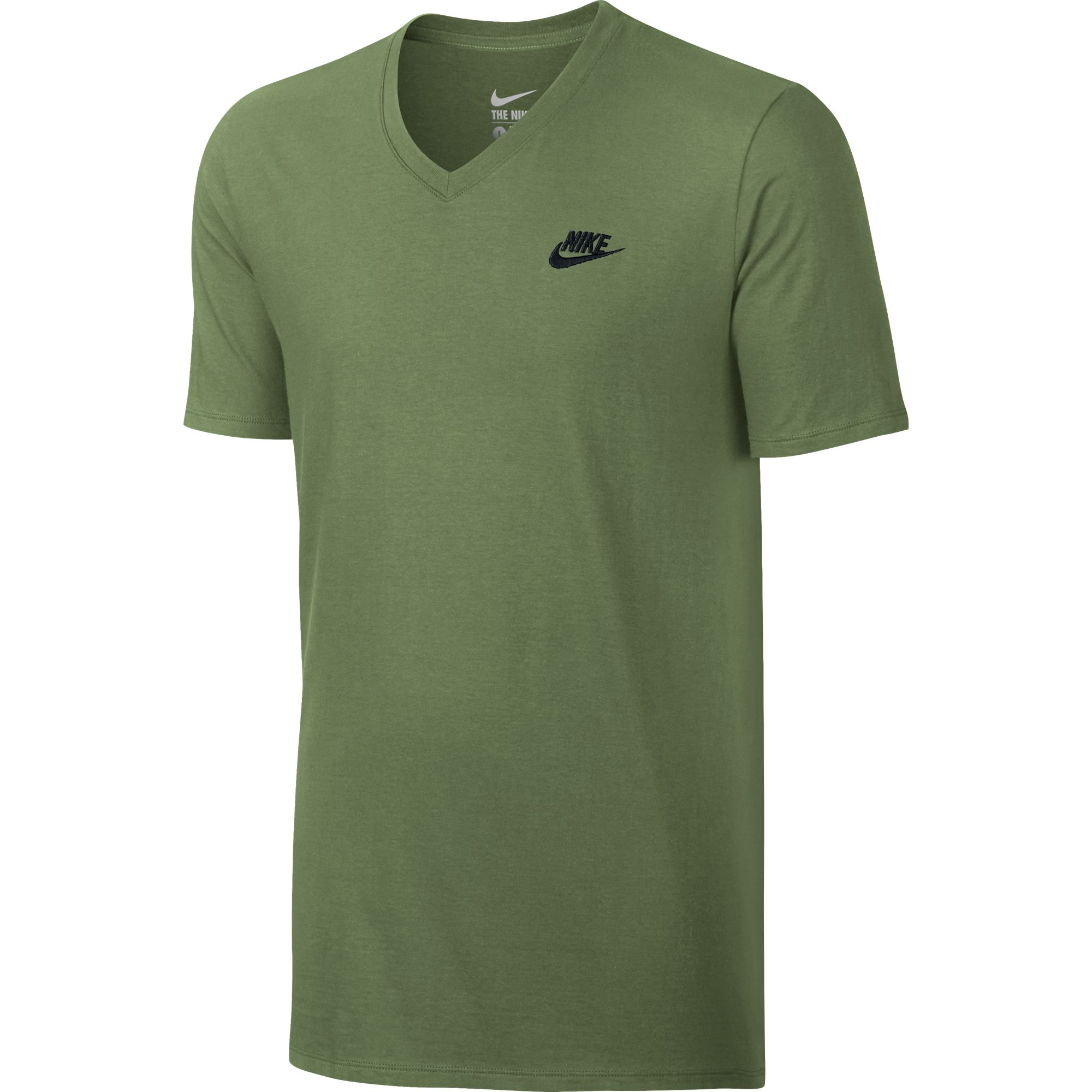 Nike men 39 s v neck club embroidered swoosh t shirt palm for The best white dress shirt