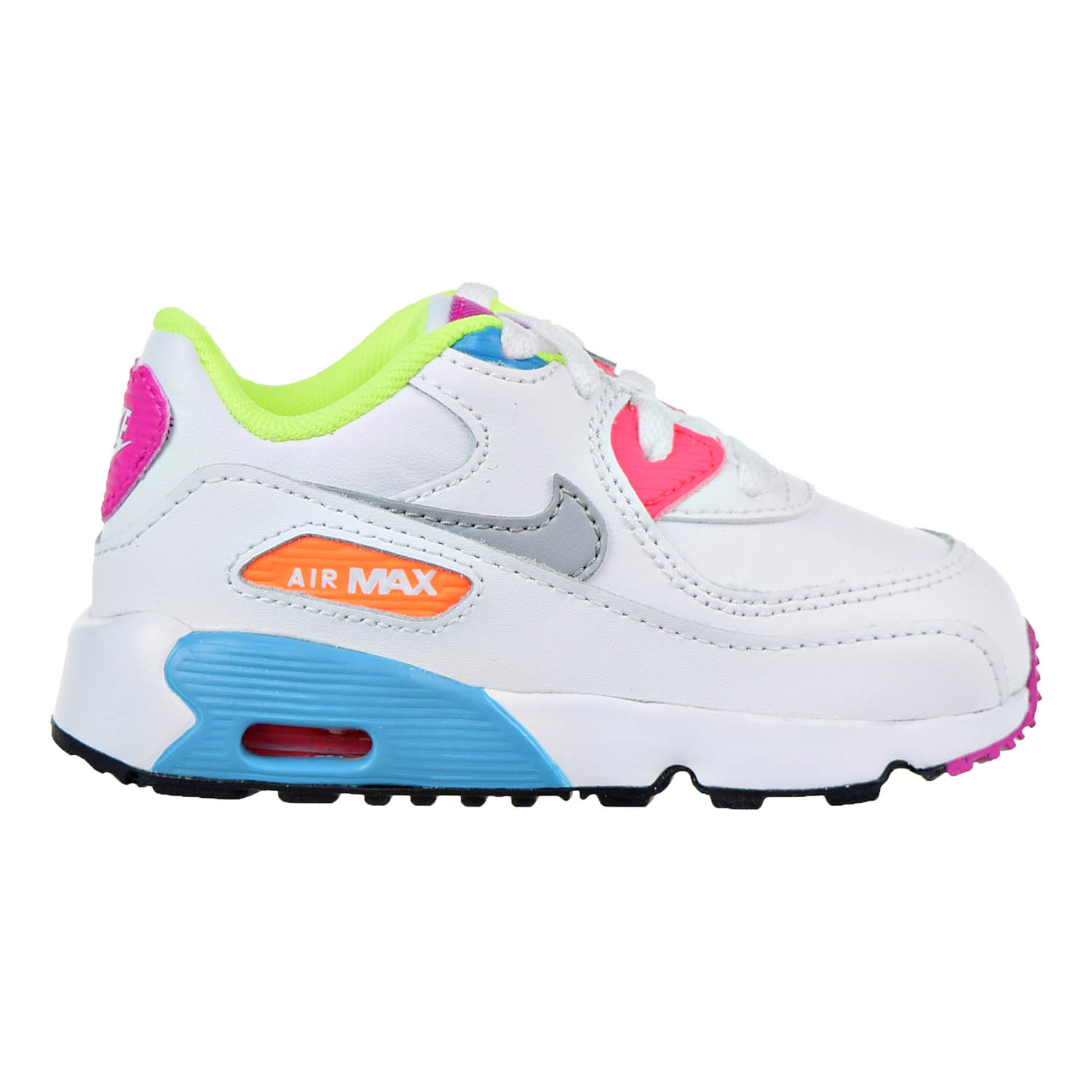 innovative design 145f0 73dc6 ... Nike Air Max 90 Leather Toddler Shoes White Wolf Grey Chlorine Blue  833379- ...