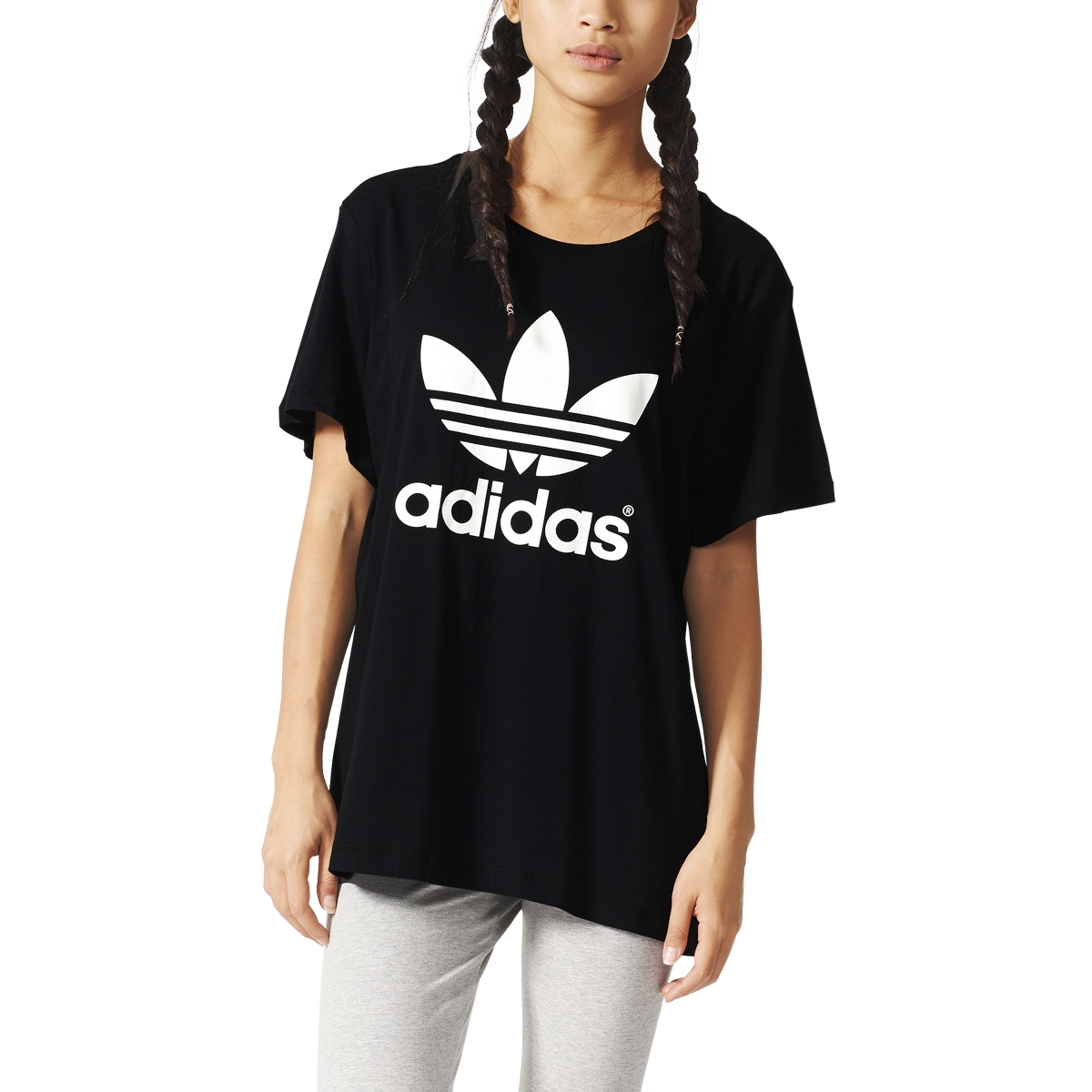 Adidas t shirt black white - Adidas Originals Boyfriend Trefoil Women S T Shirt Black White Aj8351