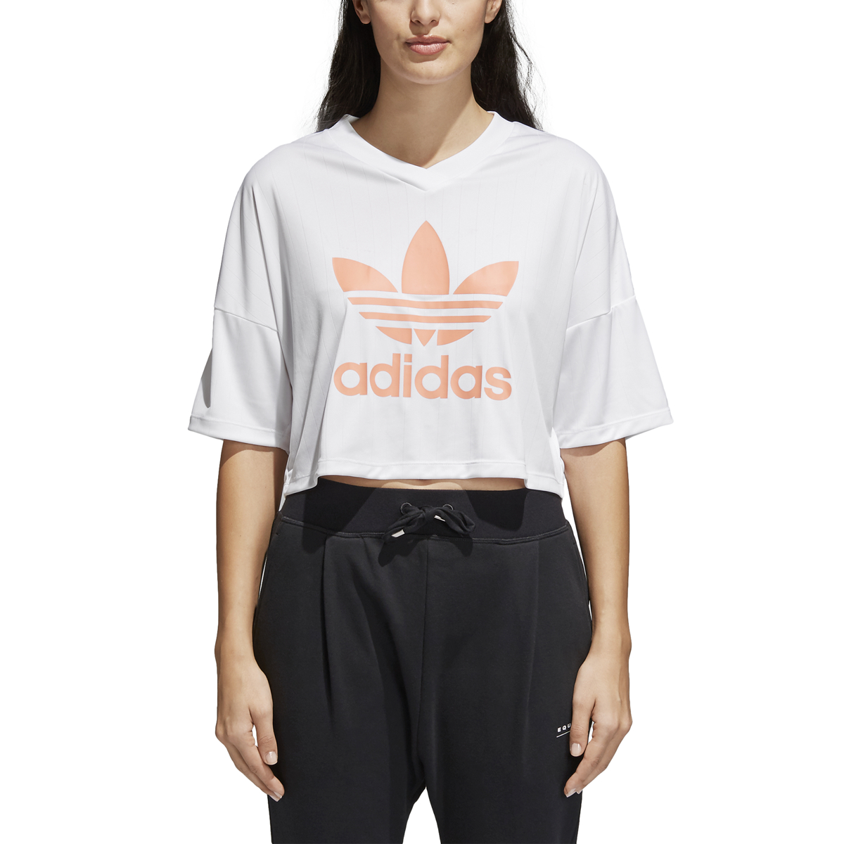 Adidas Women's Originals Trefoil Cropped Length Tee White Chalk Coral cd6875