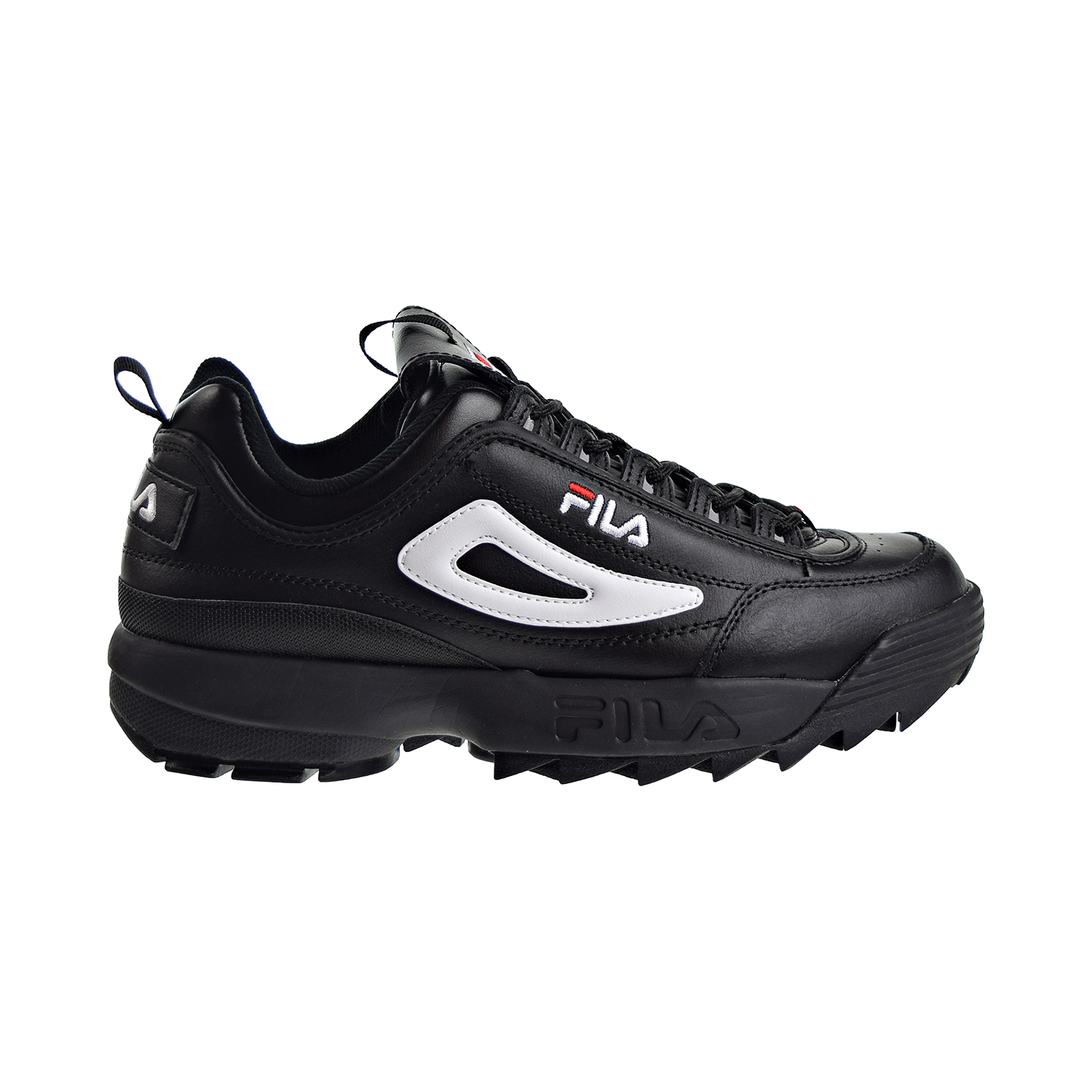 Details about Fila Disruptor II Premium Mens Shoes Black White Red 1FM00139 014