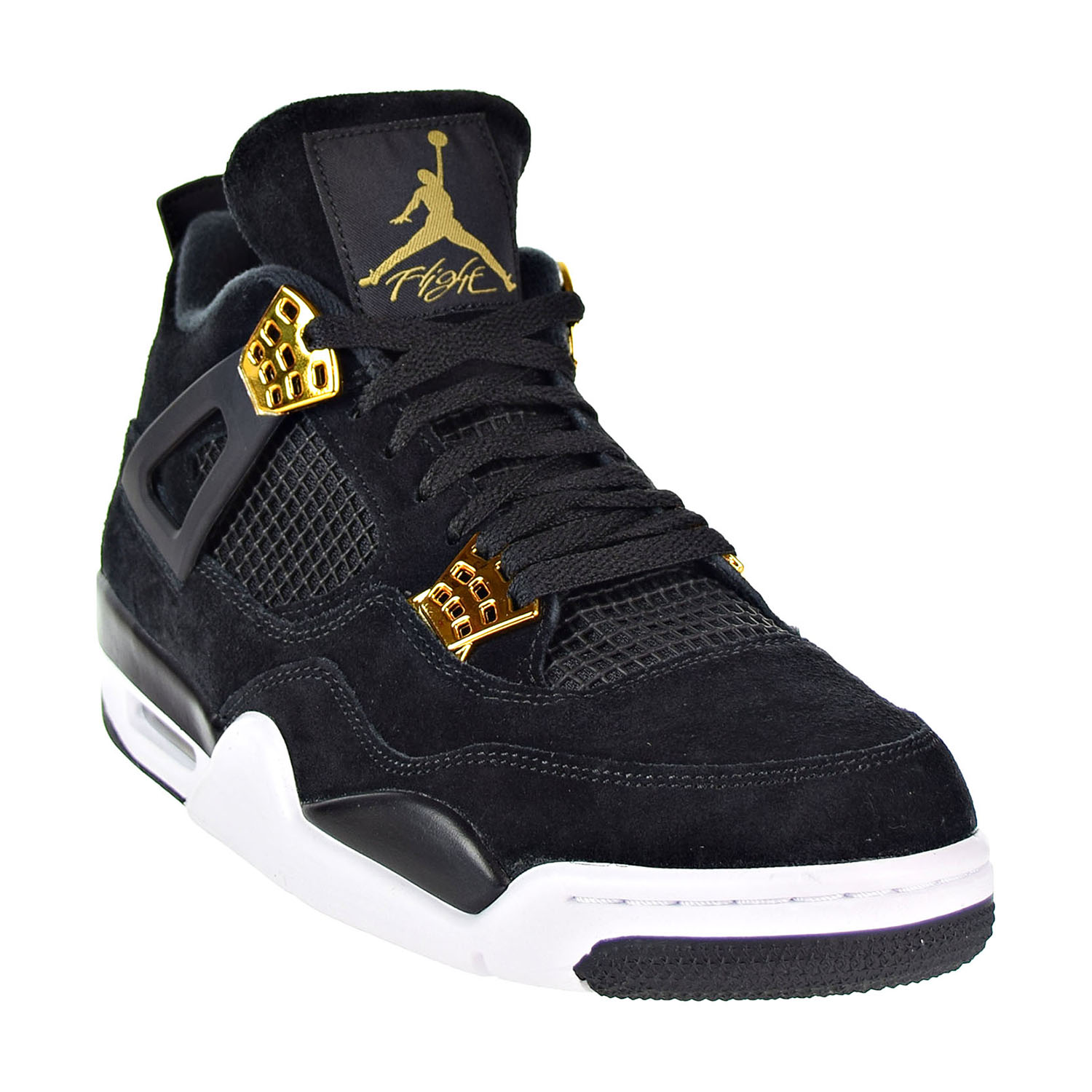 c10da28b152e Air Jordan Retro 4 Men s Shoes Black Metallic Gold White 308497-032 ...