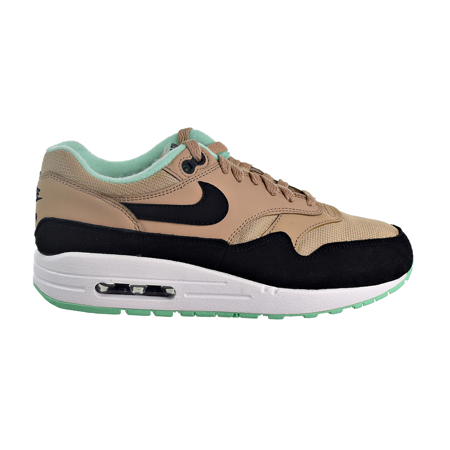 Details about Nike Air Max 1 Women's Shoes DesertBlackGreen GlowWhite 319986 206
