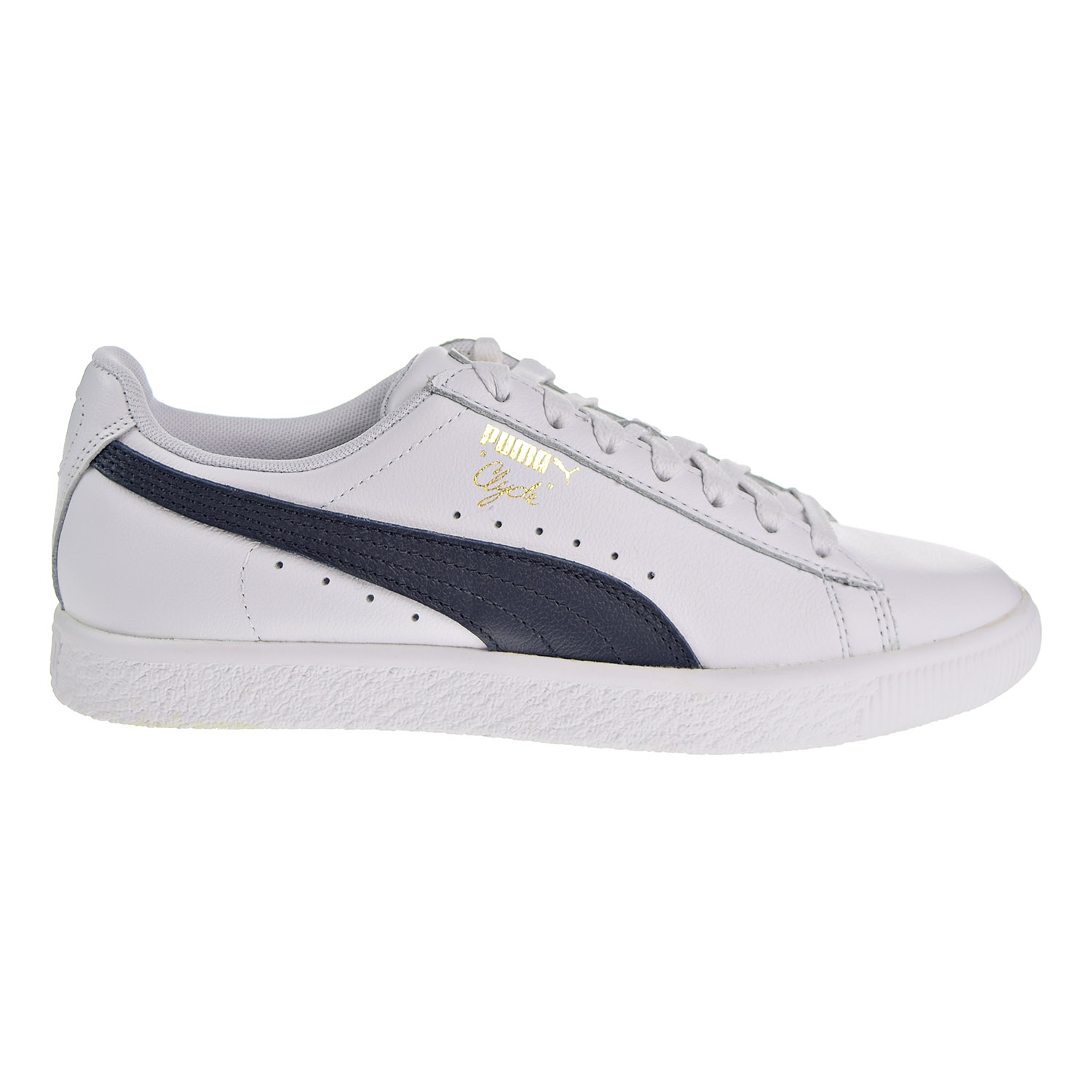 44ca7e6c068 Details about Puma Clyde Core Foil Women's Shoes White/Navy/Team Gold  364670-02