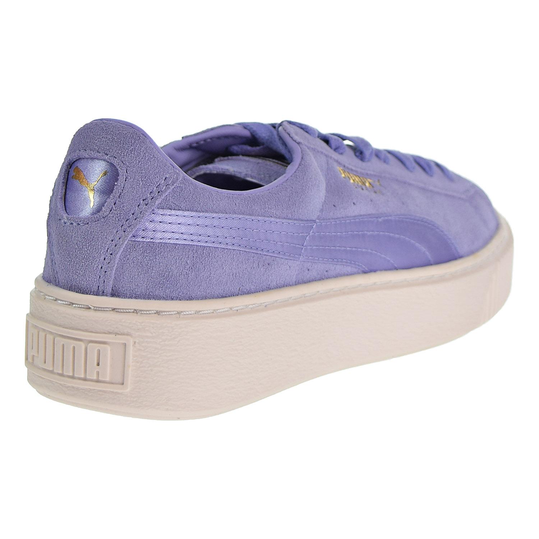 Puma Suede Platform Mono Satin Women s Shoes Lavender Whisper Gold 365828-01 e63d4a1d4