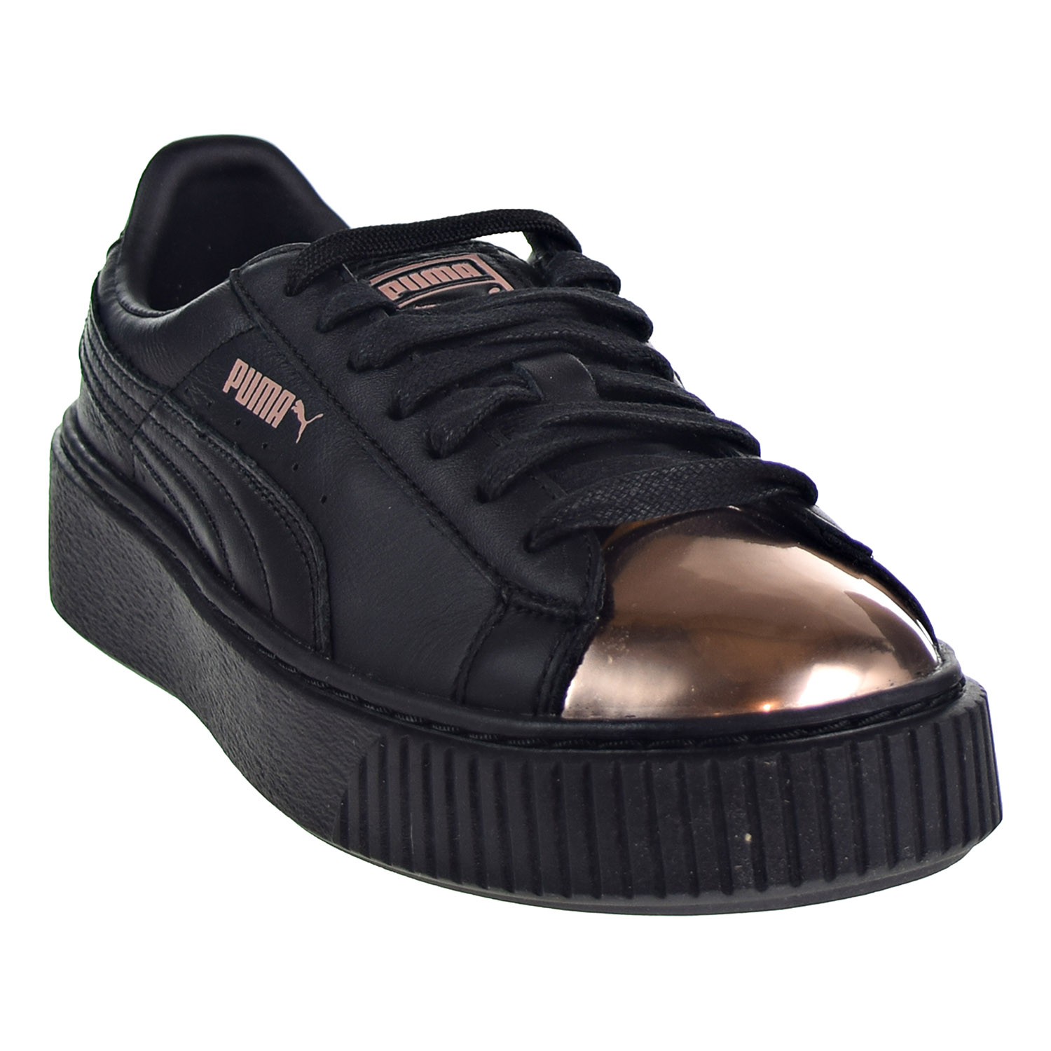 b4fca88a776da6 Puma Basket Platform Metallic Women s Shoes Black Rose Gold 366169 ...