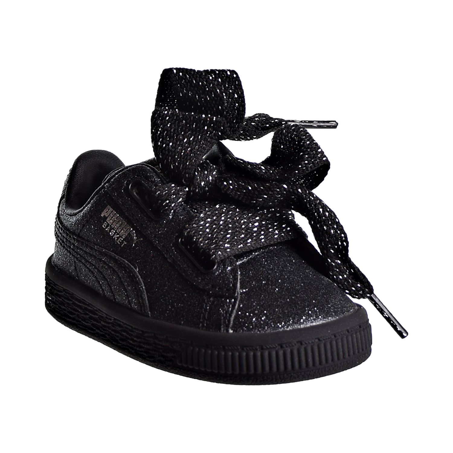 d162edb7332 Puma Basket Heart Holiday Glamour Toddler s Shoes Black Silver 367632-02