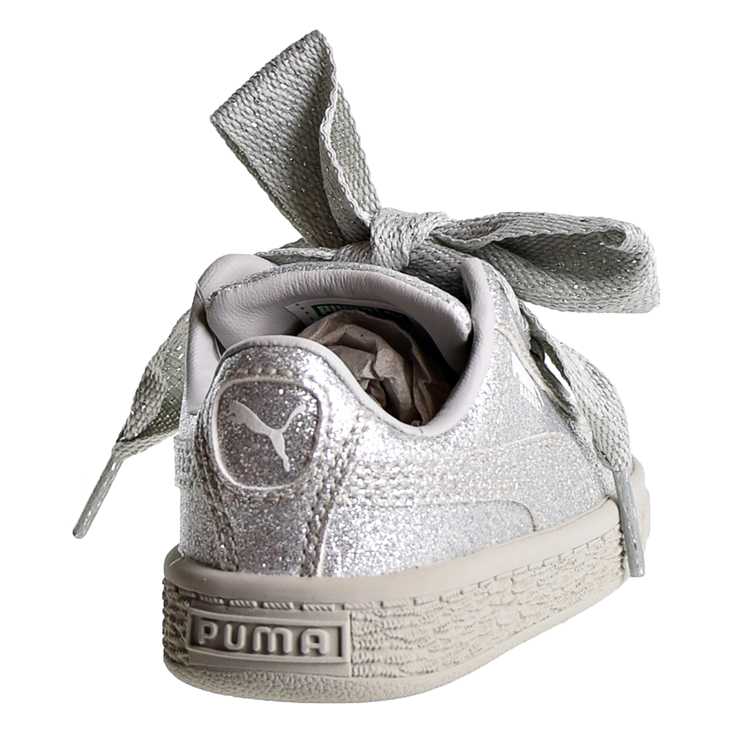 8a86df21d39 Puma Basket Heart Holiday Glamour Toddler s Shoes Silver Gray Violet 367632- 03