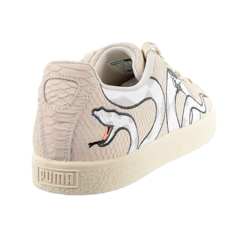 Puma Clyde Snake Embroidery Men S Shoes Whisper White Grey Violet 368111 01 Ebay
