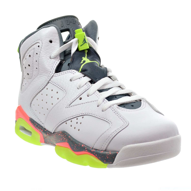 Air Jordan 6 Retro BG Big Kid s Shoes White Ghost Green Hasta Bright Mango  384665-114 a1d3118d0