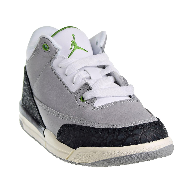 e1050ed31f3b8f Jordan 3 Retro Little Kid s Shoes Light Smoke Grey Chlorophyll Black 429487- 006