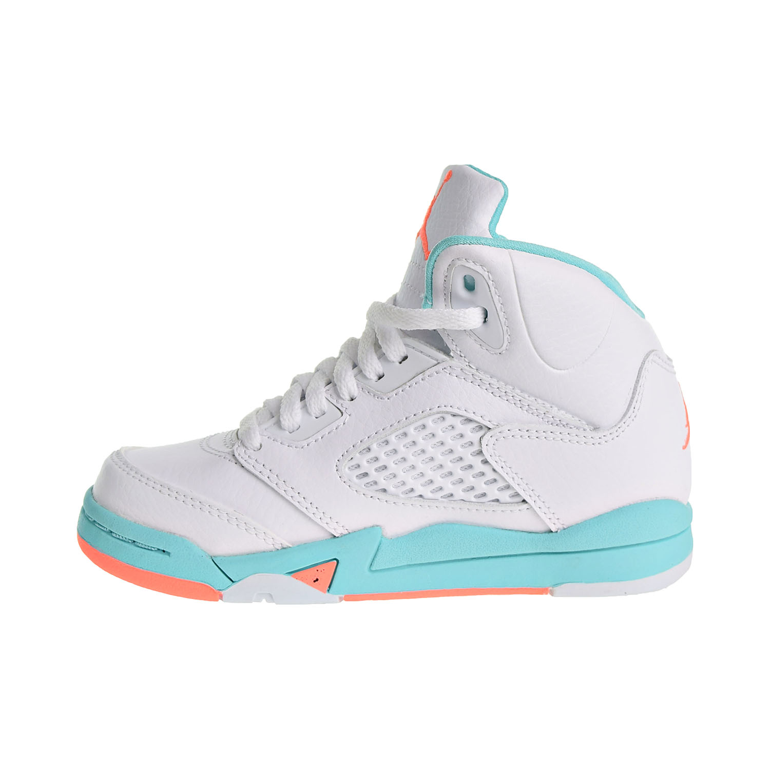 7af81731399 Jordan 5 Retro GP Little Kid's Shoes White/Crimson Pulse/Light Aqua 440893- 100