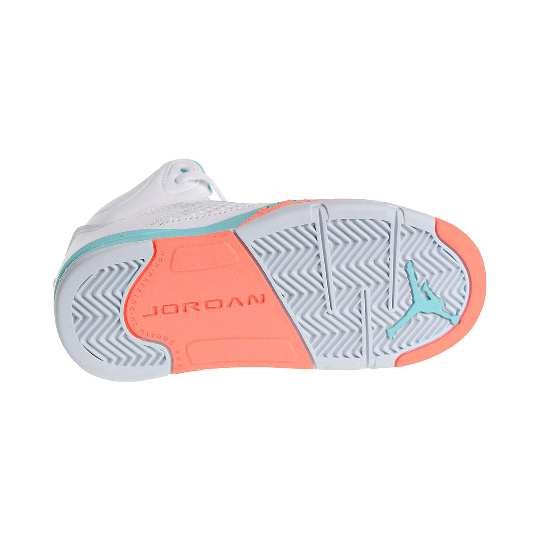 bd2c436ac28 Jordan 5 Retro GP Little Kid's Shoes White/Crimson Pulse/Light Aqua 440893 -100