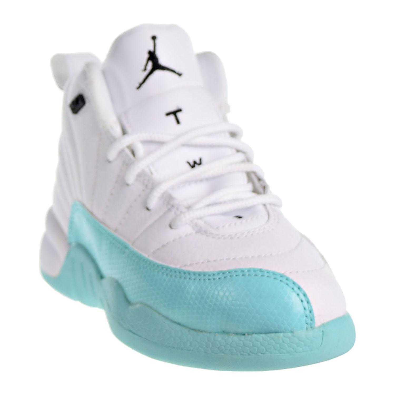 373fdd85f09e6b Jordan 12 Retro Little Kid s Shoes White Black Light Aqua 510816-100 ...