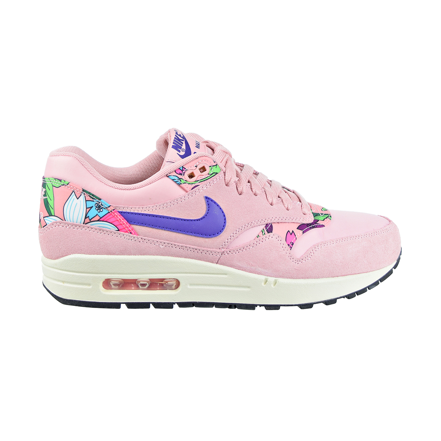 Details about Nike Air Max 1 Print 'Aloha' Women's Shoes Pink Glaze Varsity Purple 528898 601