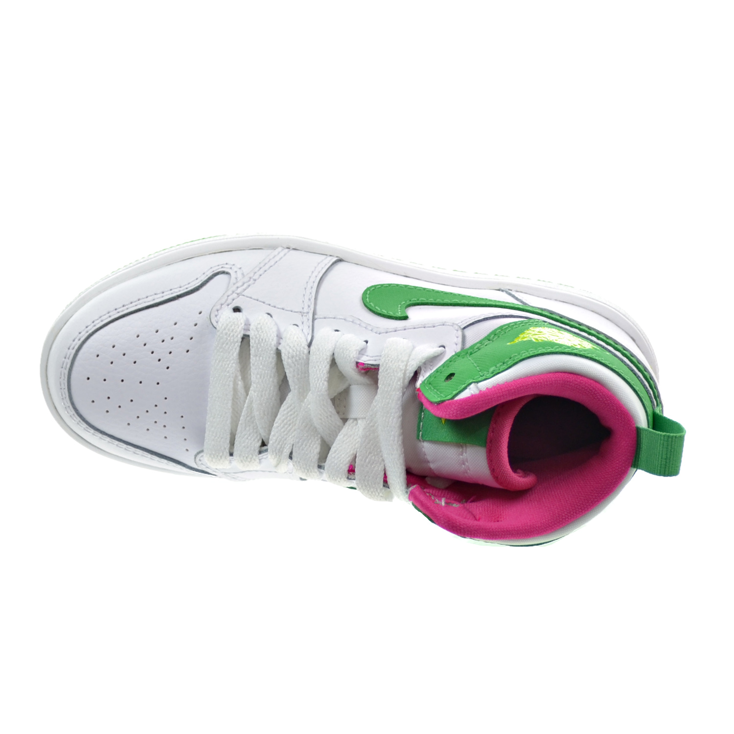 59b0dc833cf Jordan 1 Retro High GP Little Kid s Shoes White Gamma Green Vivid Pink Cyber  705321-134