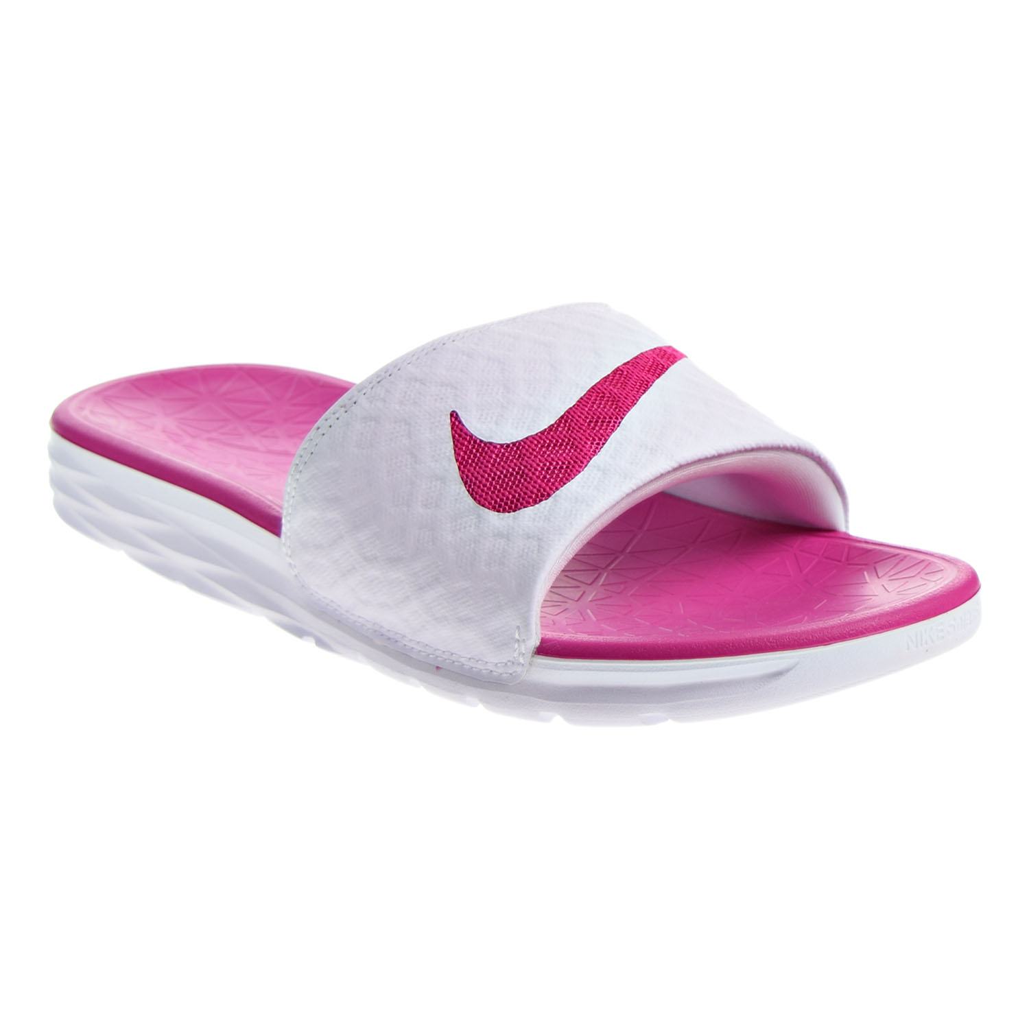 01be26580ec6 Details about Nike Women s Benassi Solarsoft Sandals White Fireberry  705475-160