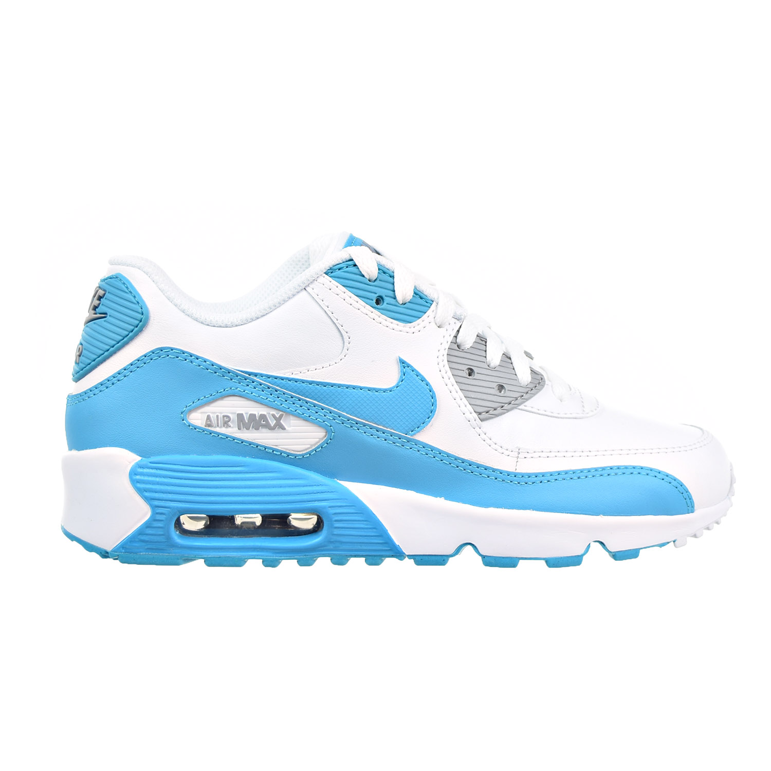 big sale a7ba0 9759f Details about Nike Air Max 90 LTR Big Kid s Shoes White Chlorine Blue Wolf  Grey 833376-101