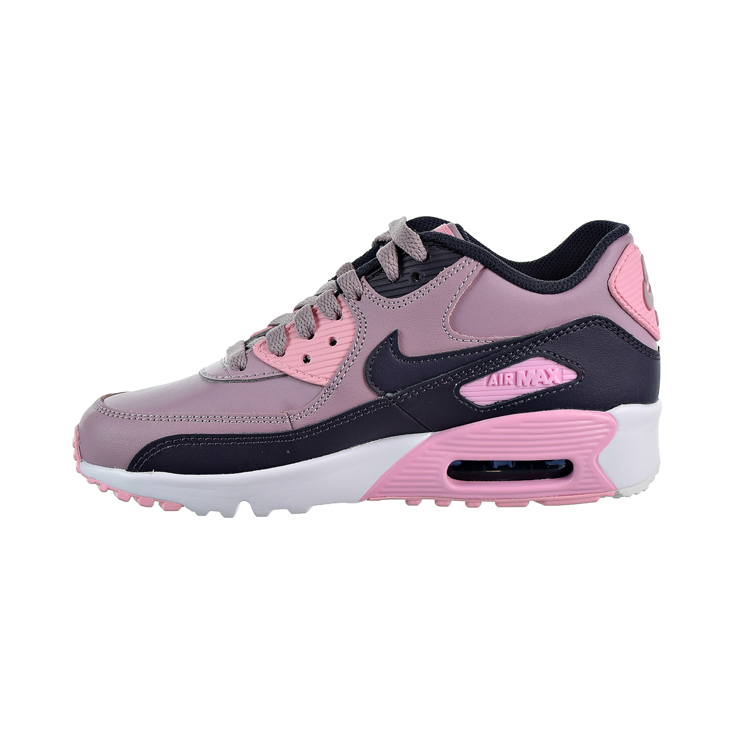 the latest 6313a 97f86 Nike Air Max 90 Leather Big Kids  Shoes Elemental Rose Gridiron Pink White  833376-602