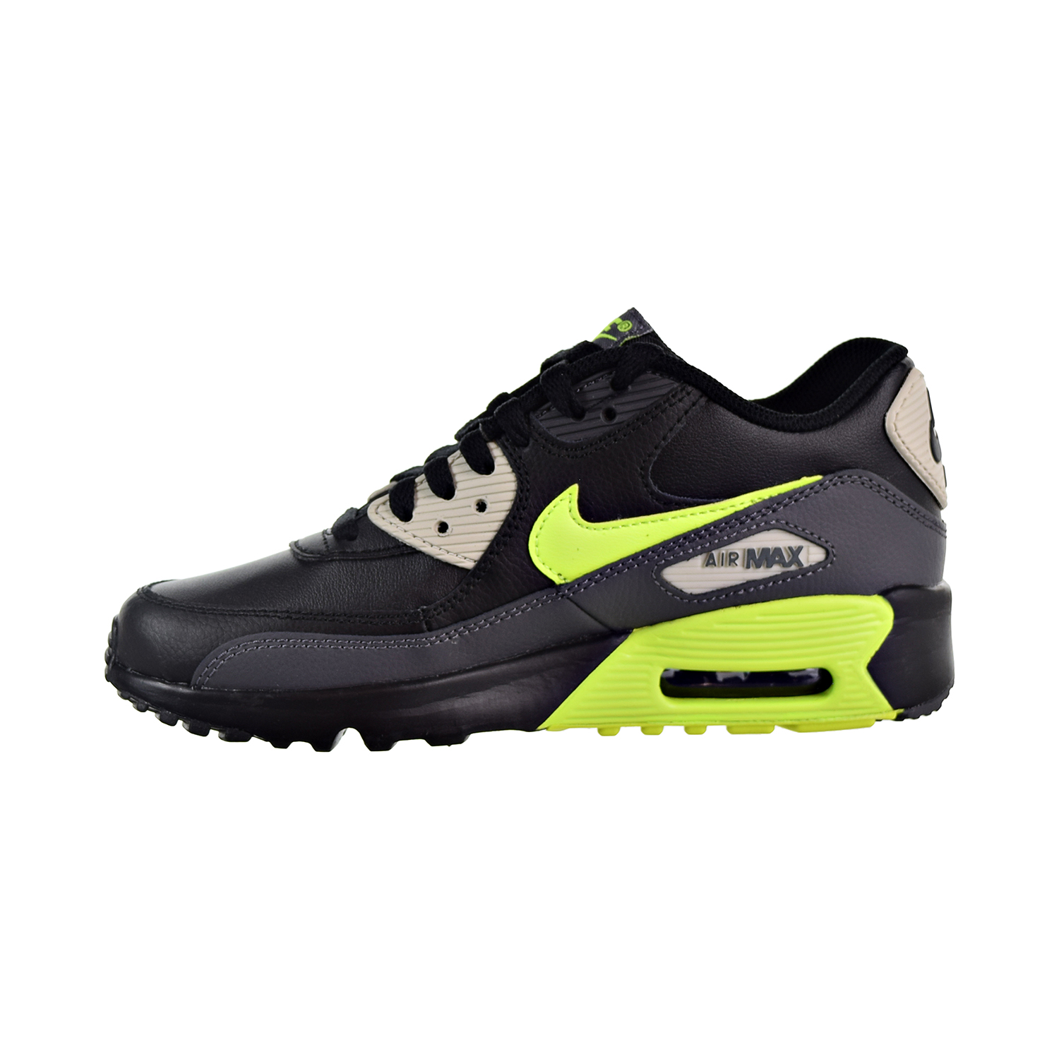 pretty nice 0e992 94829 Nike Air Max 90 Leather Big Kids  Shoes Dark Grey Volt Black 833412-023