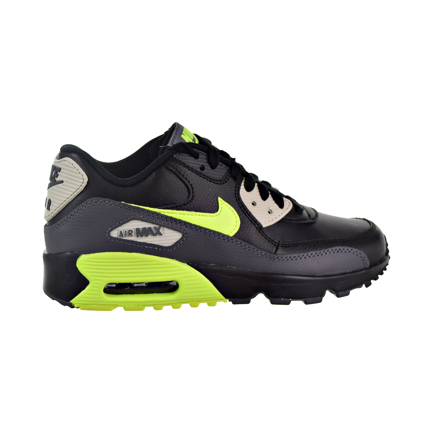 Details about Nike Air Max 90 Leather Big Kids' Shoes Dark Grey Volt Black 833412 023
