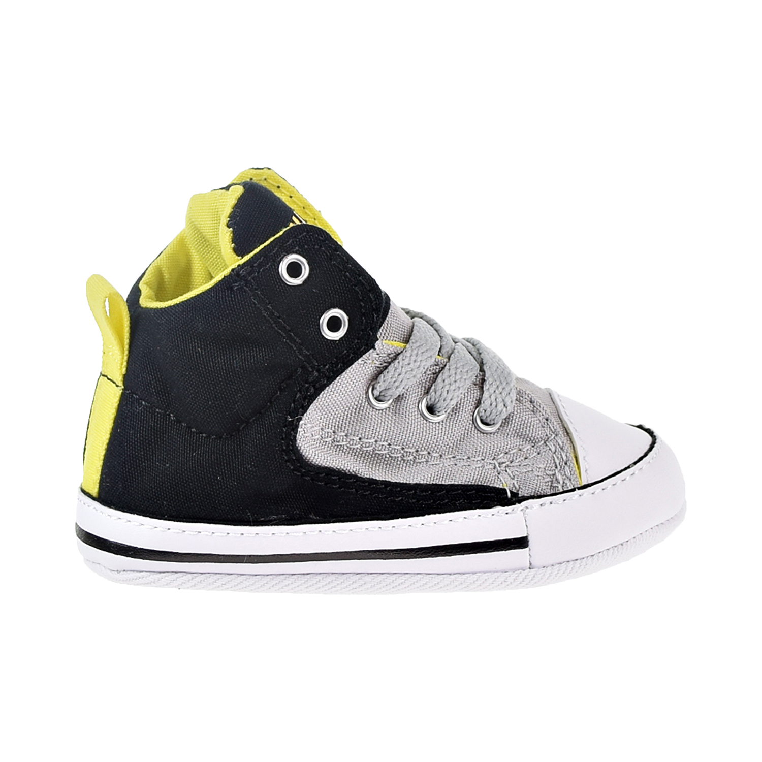 671f65581e27b5 Details about Converse Chuck Taylor All Star First Star Crib Shoes  Black Ash Grey 856129C