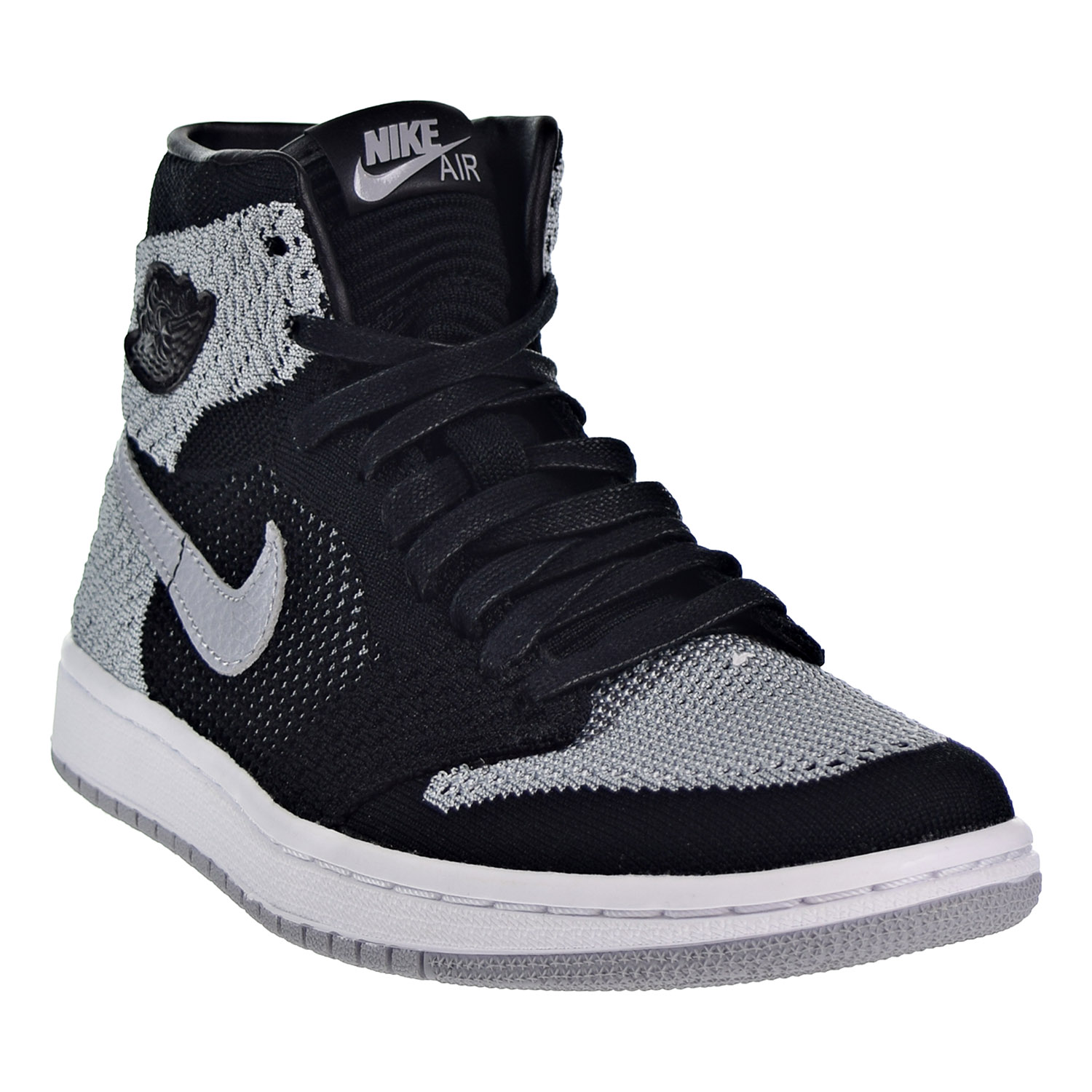 e216e20f825 Air Jordan 1 Retro High Flyknit Big Kid s Shoes Black Wolf Grey White  919702-003