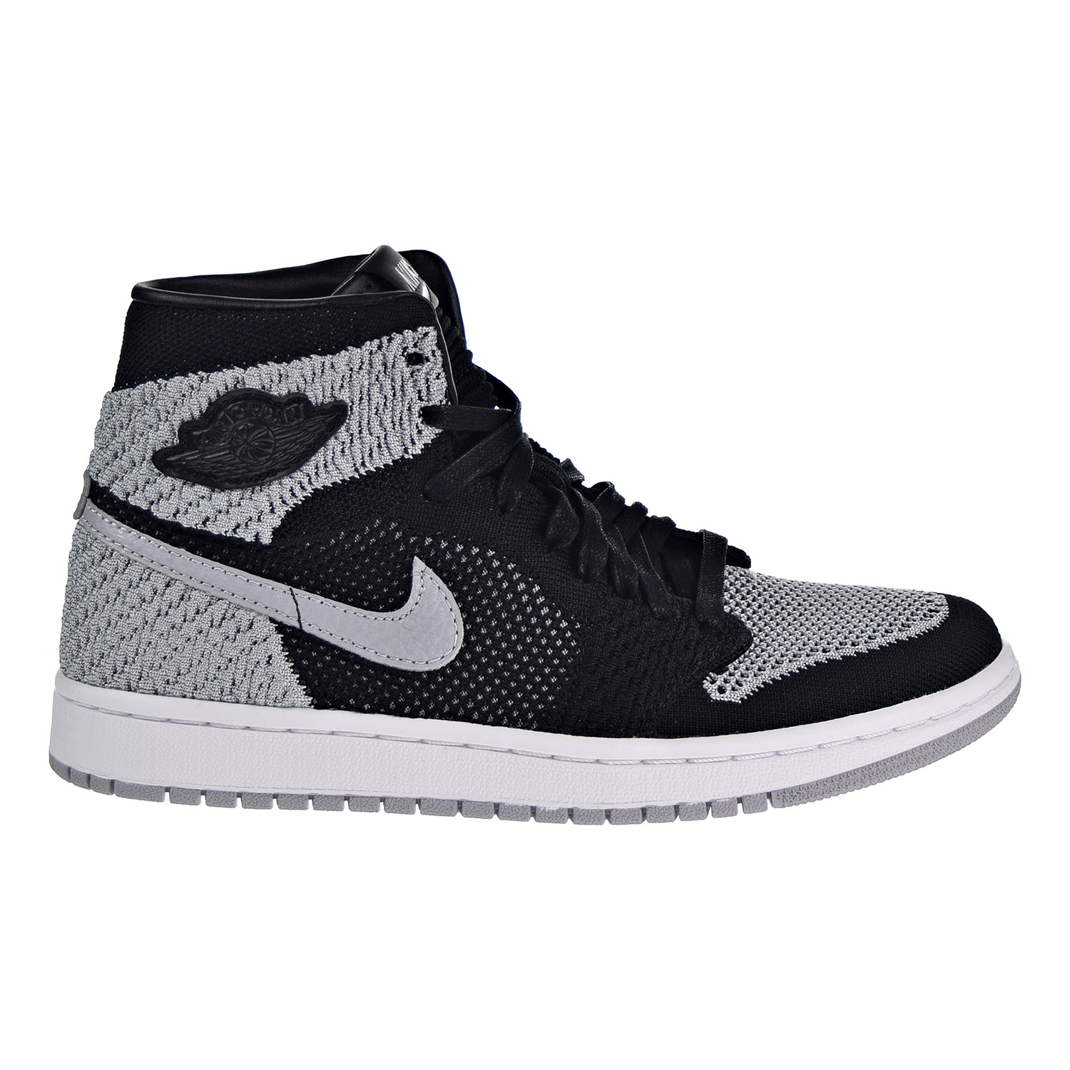 af69941e475 Details about Air Jordan 1 Retro High Flyknit Big Kid s Shoes Black Wolf  Grey White 919702-003