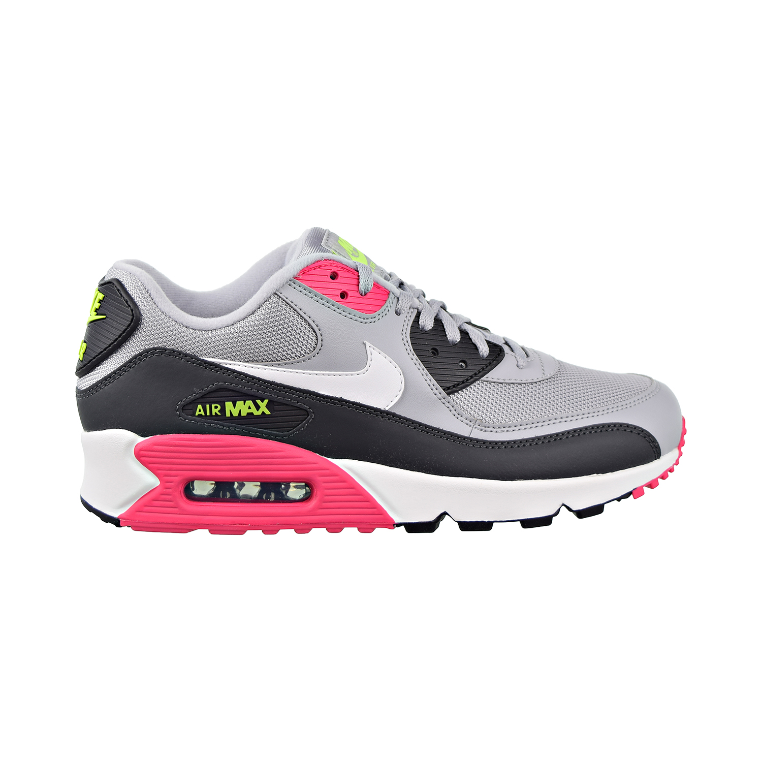 Nike Air Max 90 Essential Mens AJ1285 020 Grey Pink Volt Running Shoes Size 9