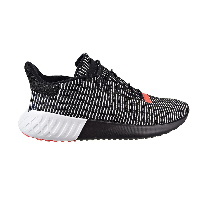 Adidas Tubular Dusk PrimeKnit Men s Shoes Core Black Cloud White Solar Red  aq1185 9b8b49748321