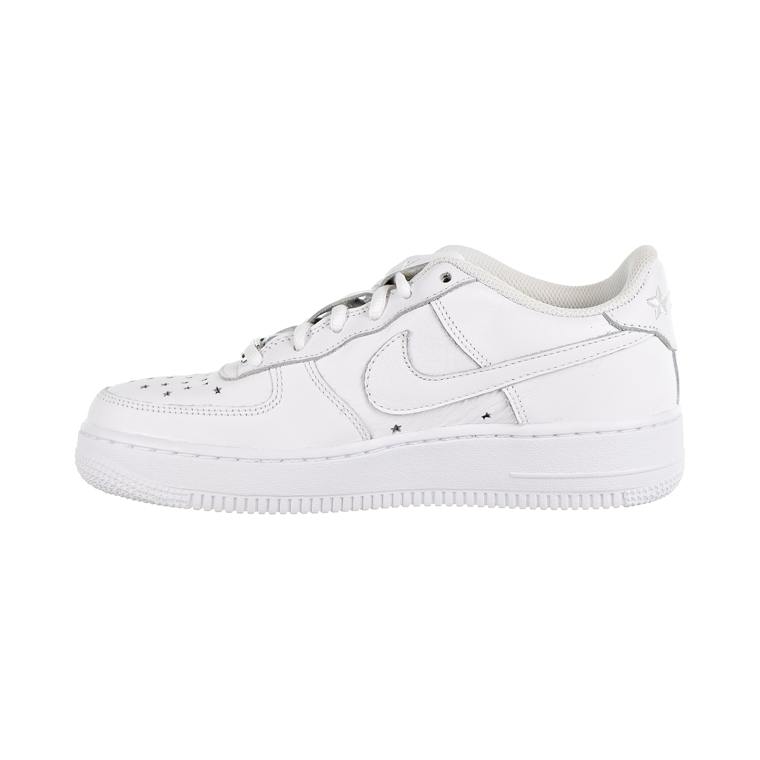 b78f0394a51 Details about Nike Air Force 1 QS Soft Leather GS Big Kids  Shoes  White White Navy AR0688-100
