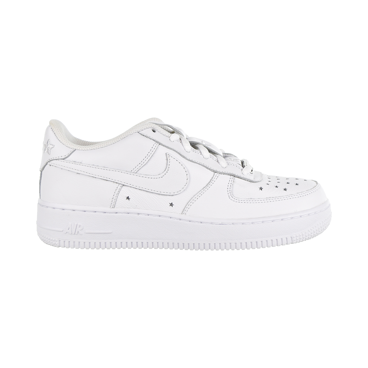 more photos cc248 19742 Details about Nike Air Force 1 QS Soft Leather GS Big Kids  Shoes  White White Navy AR0688-100
