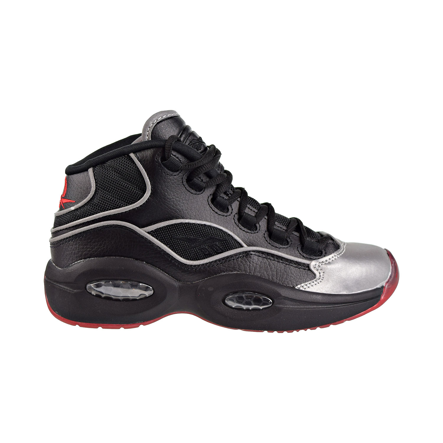 Details about Reebok Question Mid A5 Jadakiss Big Kids Shoes Black Silver Met Red BD4332