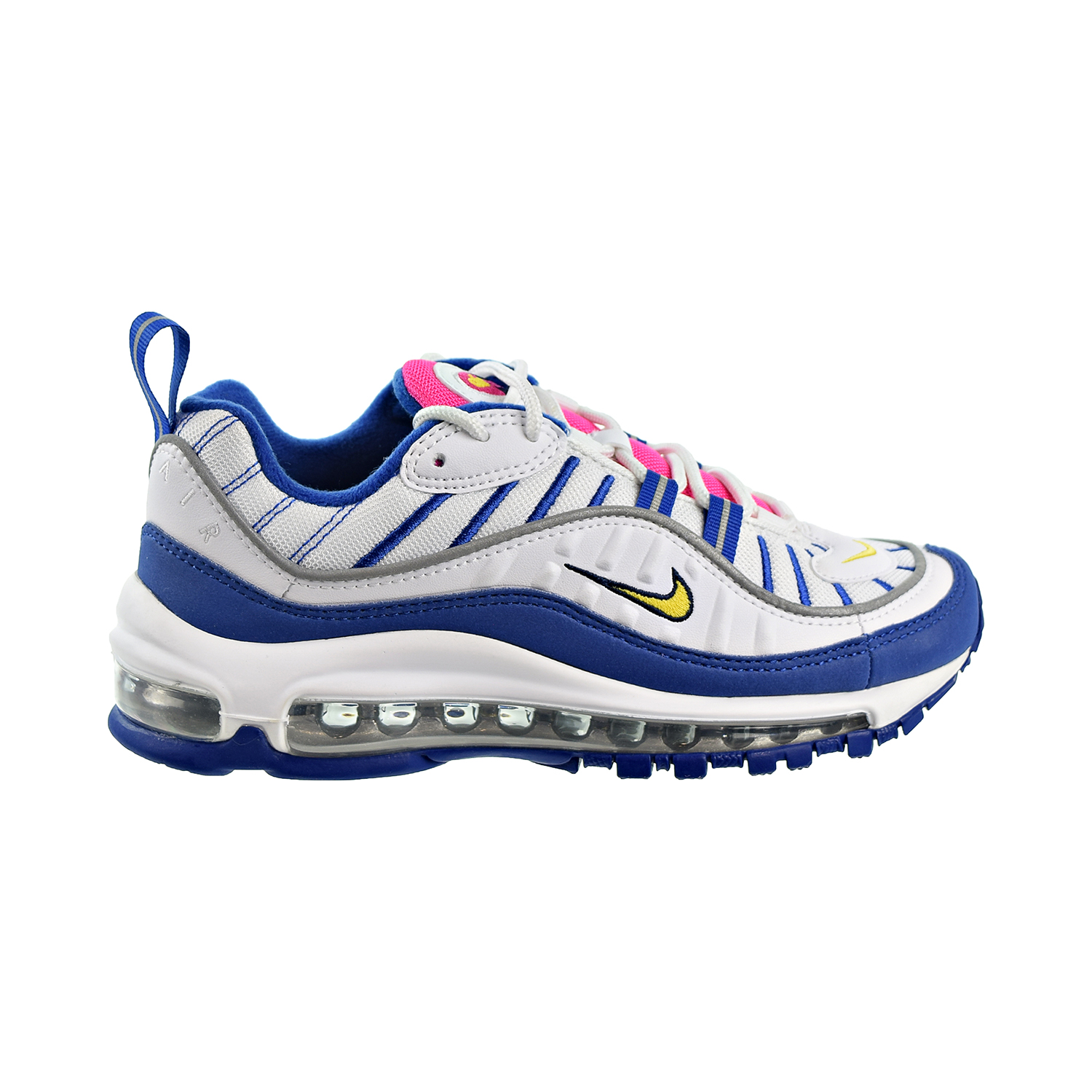 Details about Nike Air Max 98 (GS) Big Kids Shoes White Amarillo Indigo Force bv4872 101