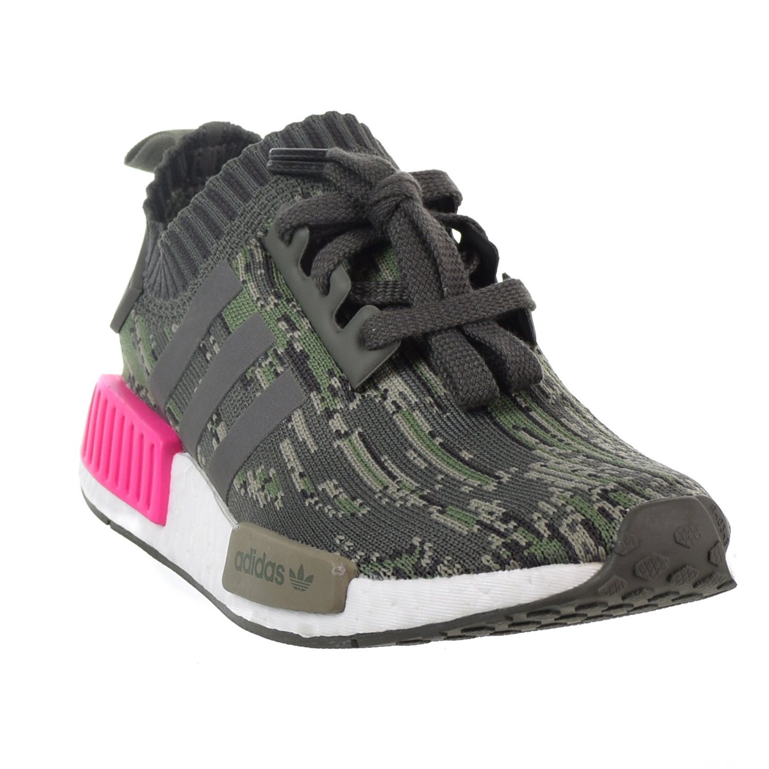 e397f477fb3c8 Adidas NMD R1 Primeknit Men s Big Kids  Shoes Utility Grey Shock Pink bz0222