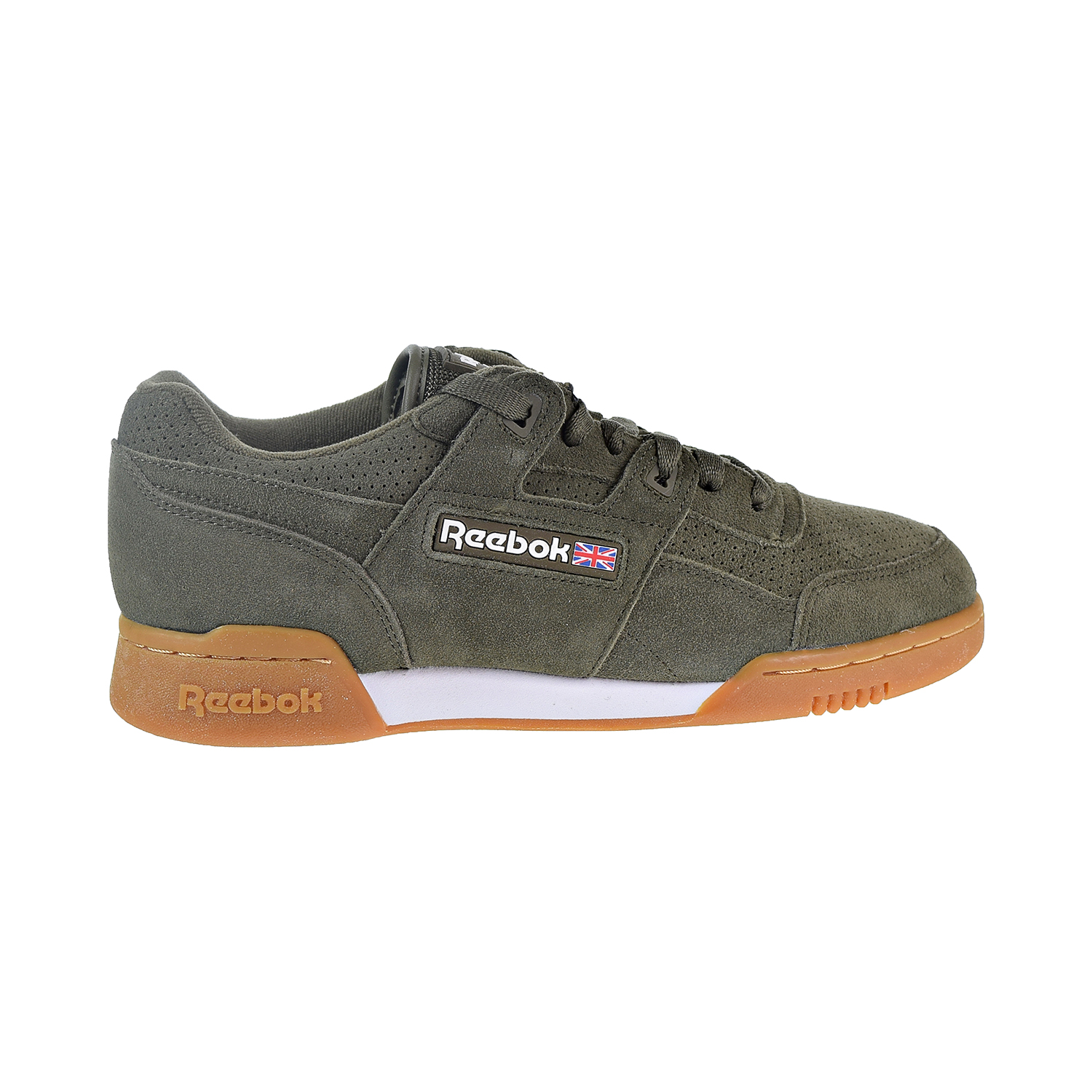 1a962f1f4a8 Details about Reebok Workout Plus SG Unisex Shoes Army Green White Gum  CN1053