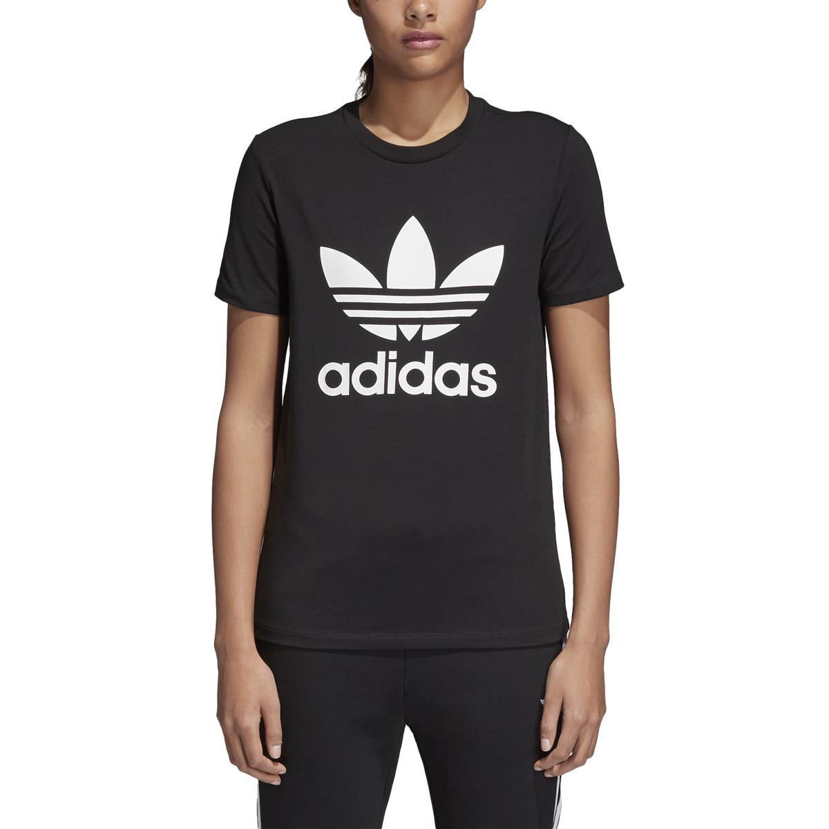 f78aee86470 Details about Adidas Originals Trefoil Tee Women s Shirt Black White cv9888