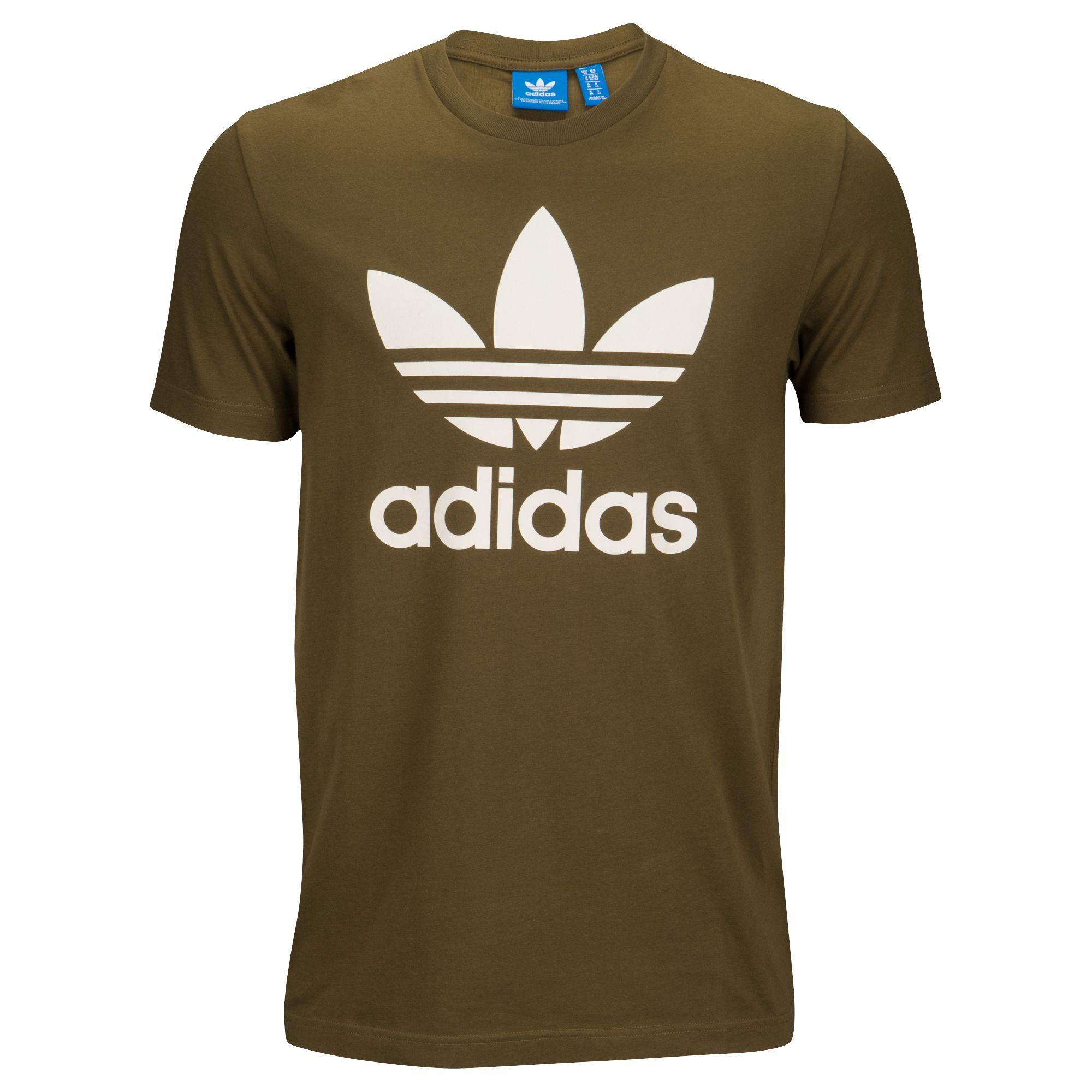 1293a6d0ae4c Details about Adidas Originals Trefoil Men s Crew Neck T-Shirt Trace Olive White  cw2723