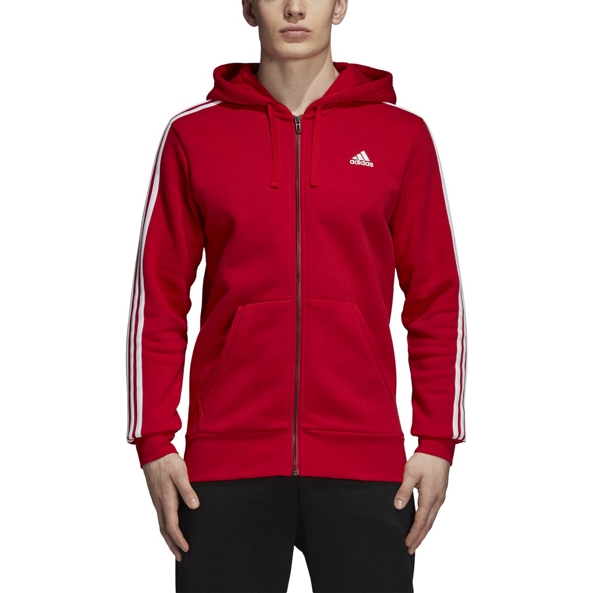 adidas Essentials 3 Stripes Fleece Full Zip Hooded