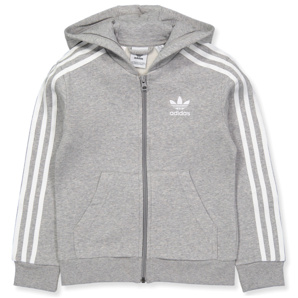 Details about Adidas Youth Originals Full Zip Hoodie Medium Grey  Heather-White DH2702