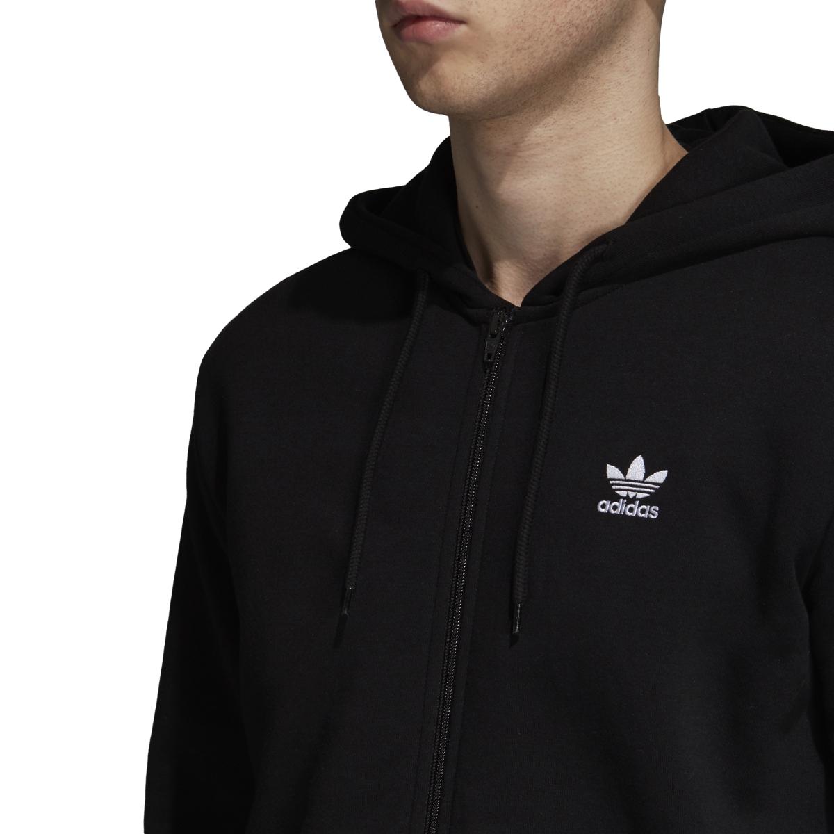 Descompostura pistola Ups  Adidas Originals Fleece Trefoil Men's Full Zip Hoodie Black-White dn6016 |  eBay