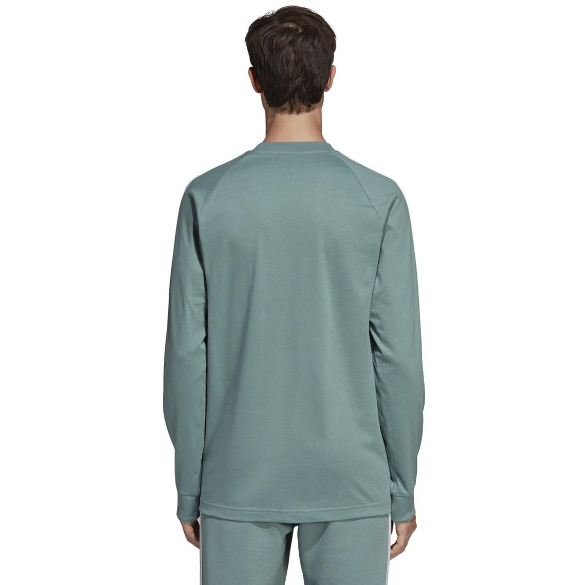Adidas Long Sleeve 3 Stripe Tee Vapour Steel | END.