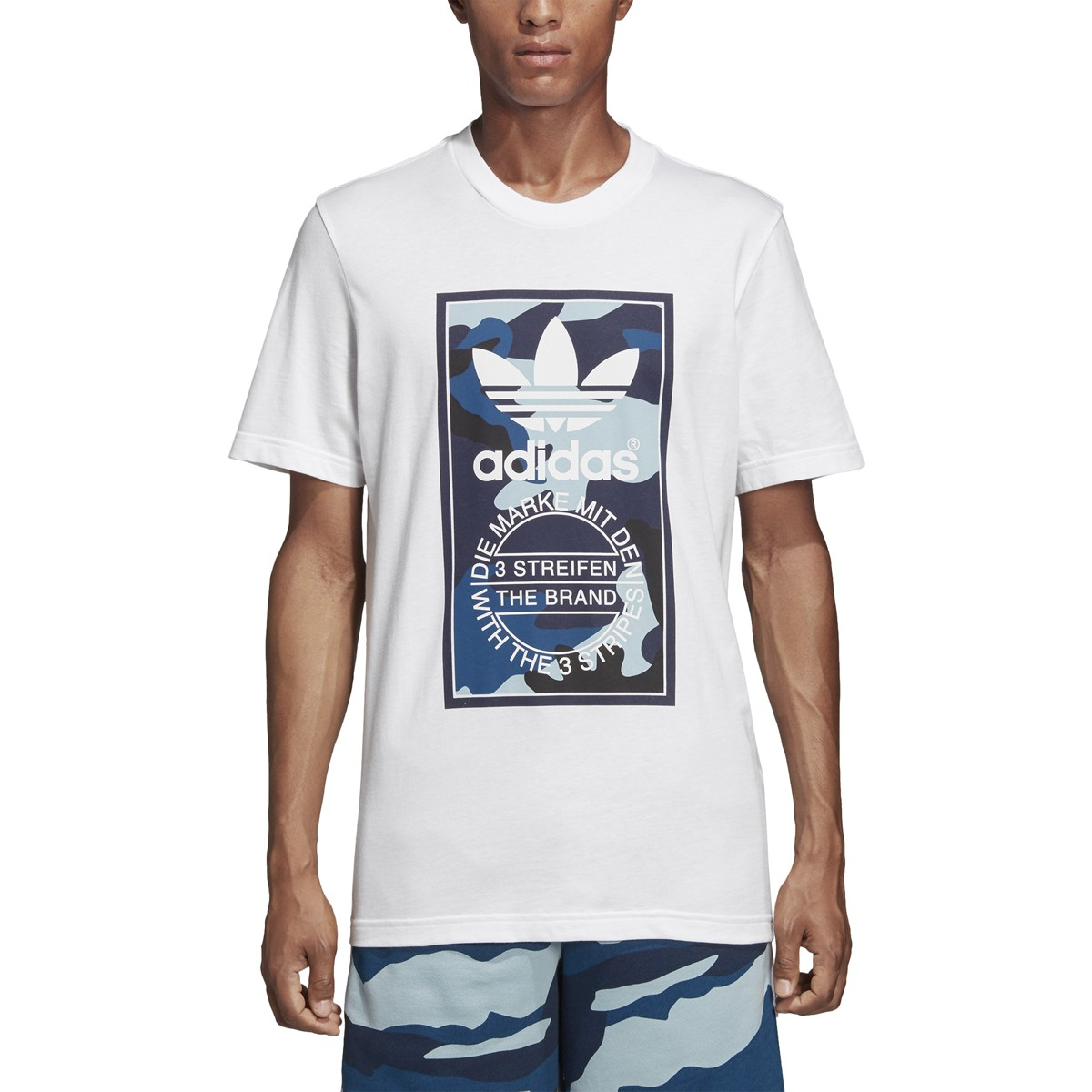 3b16f845b1e Details about Adidas Men s Originals Camouflage Tongue Label Tee White  DX3662