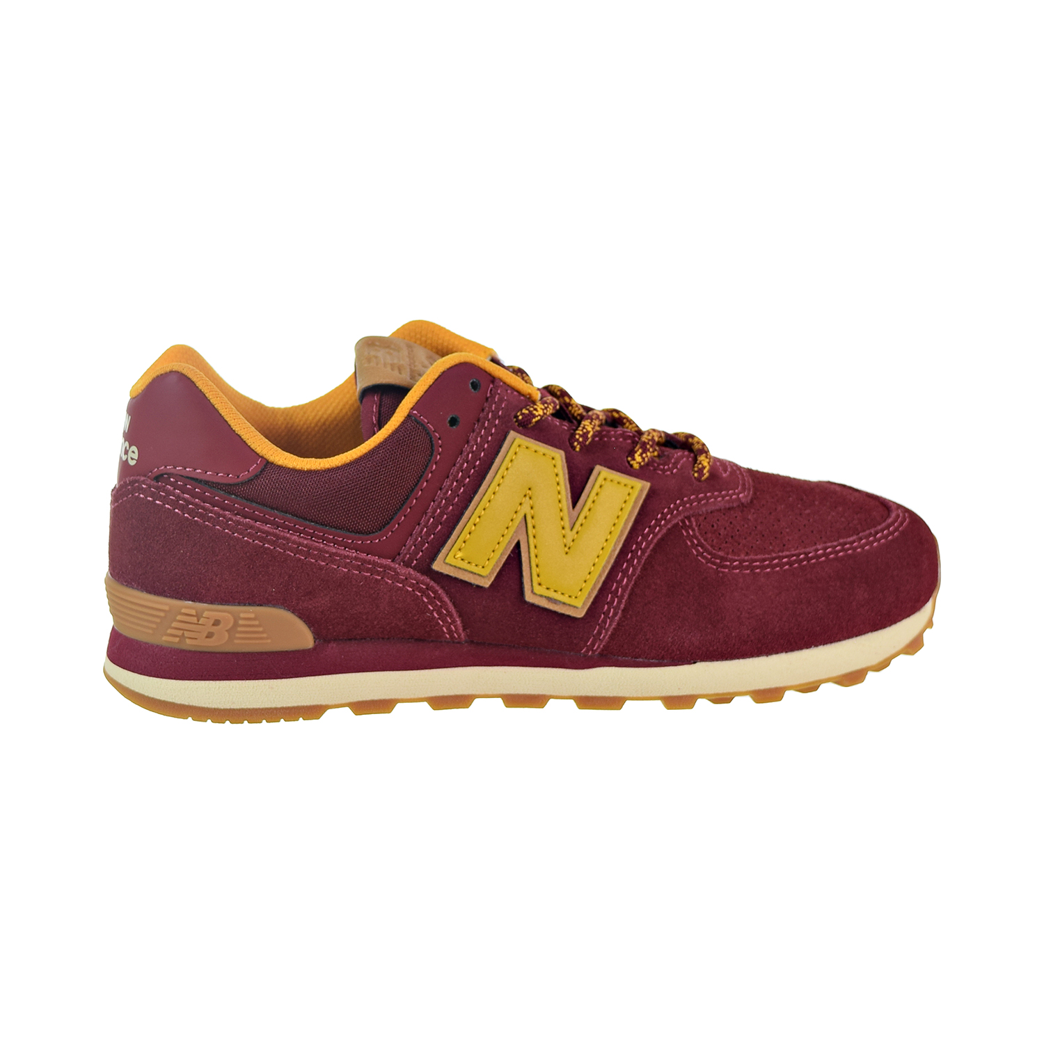 b7c123cf399 Details about New Balance 574 Suede Big Kids' Shoes Mercury Red/Gold Rush  GC574-TM