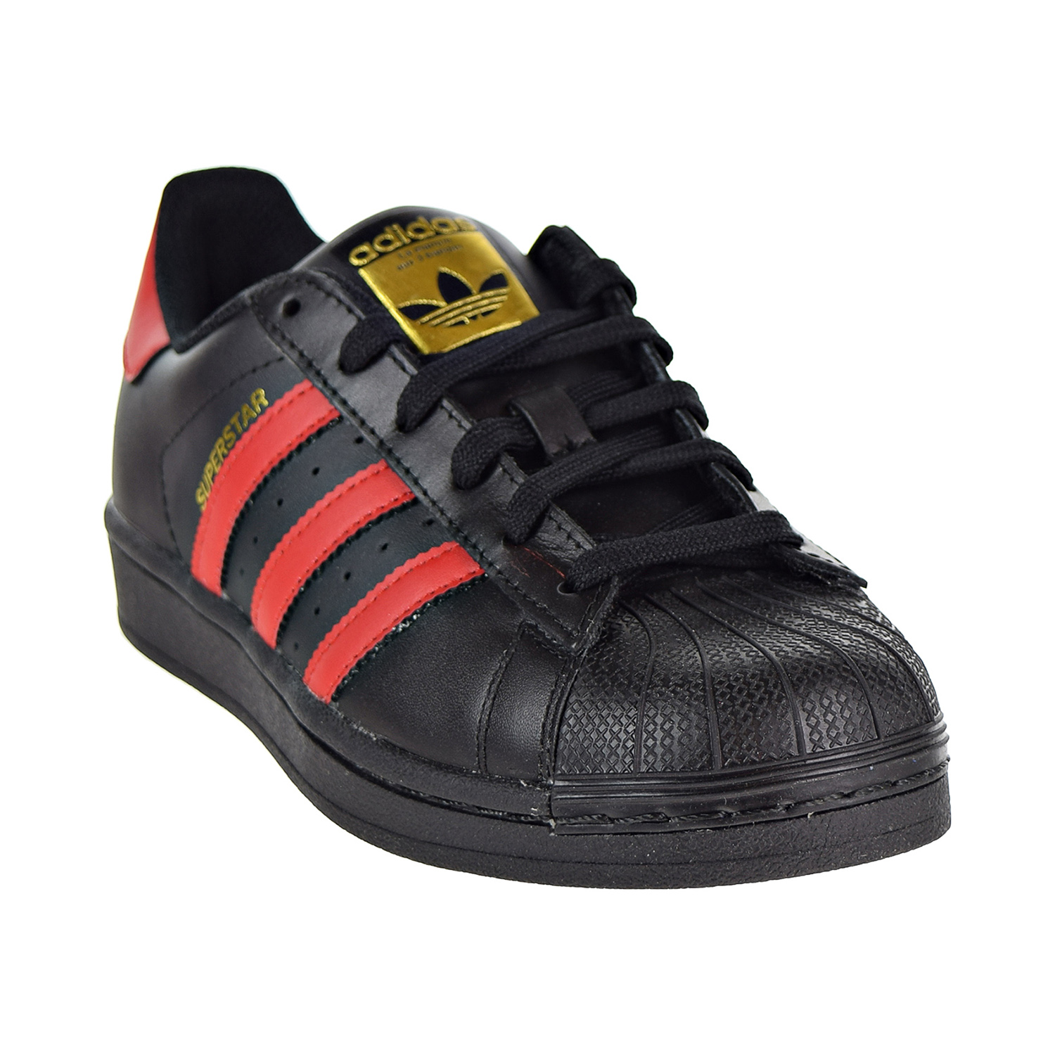 84ea72a66b9fd4 Adidas Originals Superstar J Big Kid s Shoes Black Red S80695
