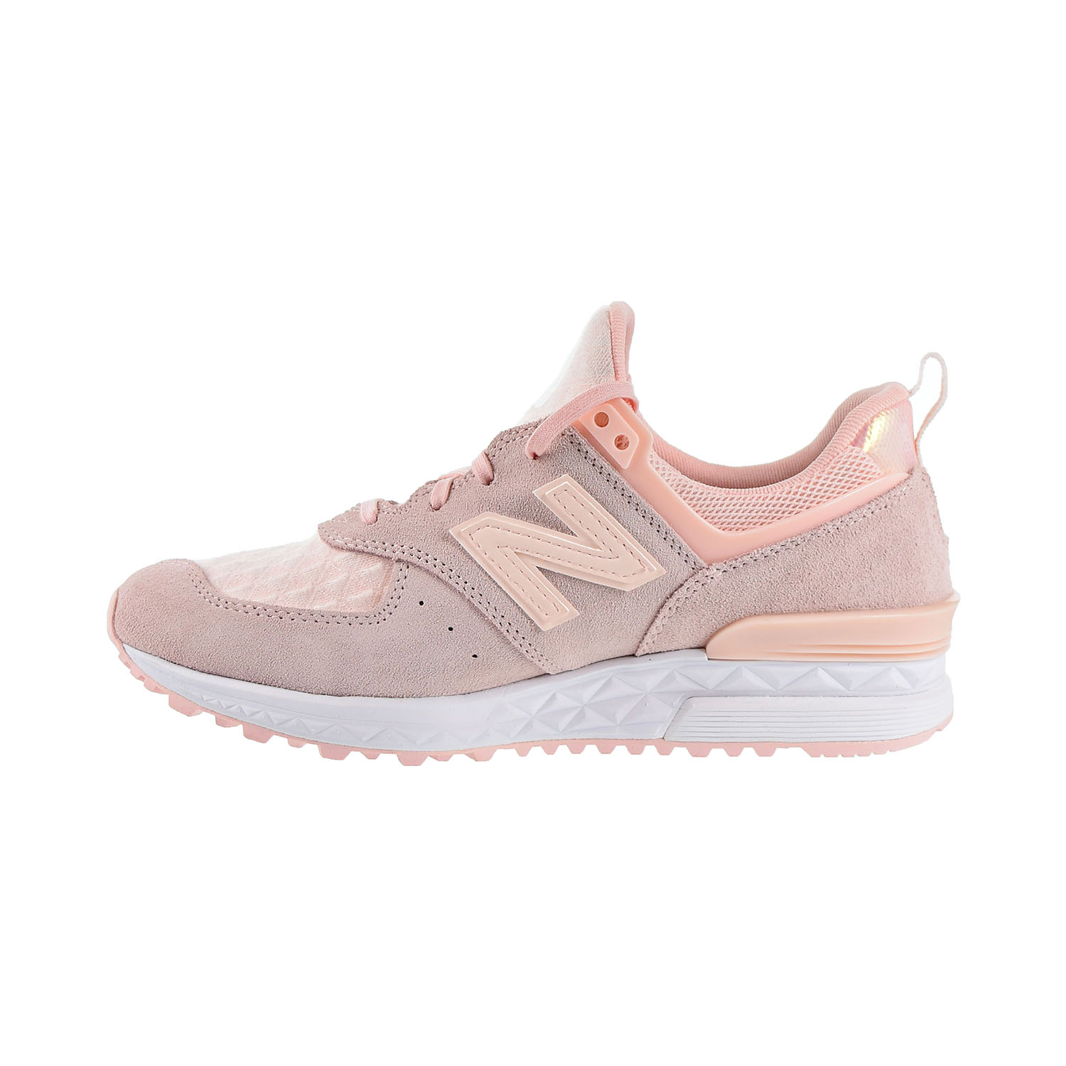 Details about New Balance 574 Women's Shoes White Pink WS574SNC